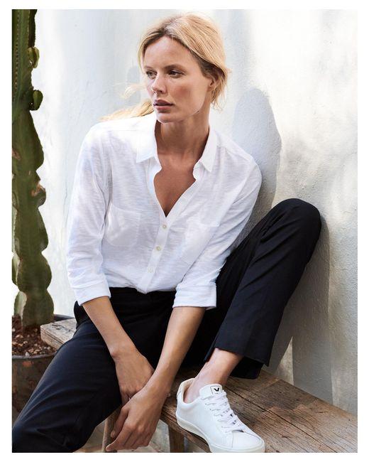The White Company White Cotton Woven Pocket Jersey Shirt