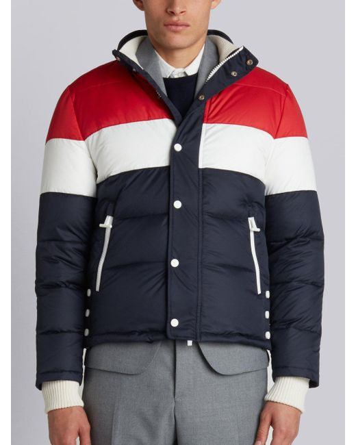 Thom Browne - Gray Three Panel Downfilled Funnel Collar Ski Jacket In Mini Ripstop for Men - Lyst