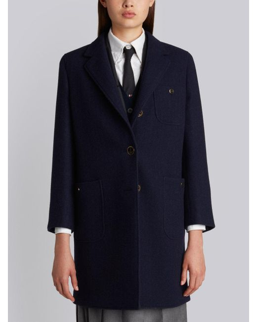 Thom Browne - Blue Unlined Button Back Sack Overcoat In Navy Solid Double Face Melton - Lyst