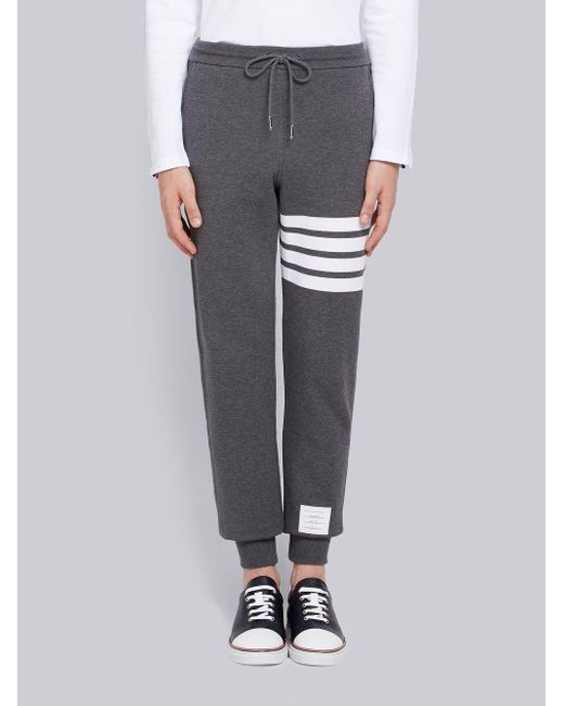e83f7f17354a Thom Browne - Gray Sweatpant With Engineered 4-bar Stripe for Men - Lyst ...