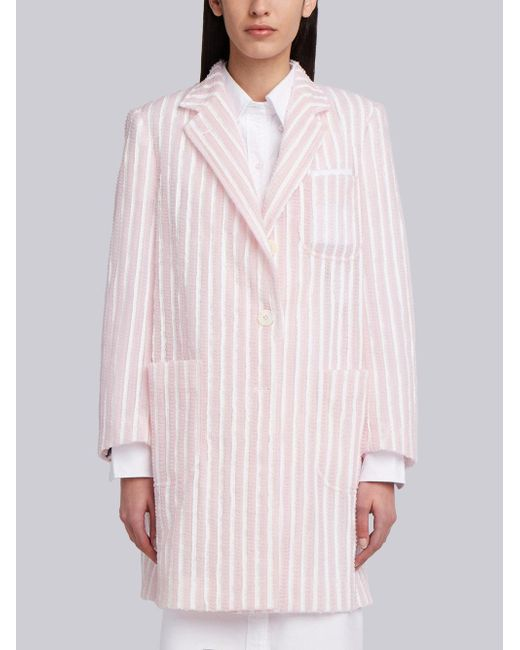 Thom Browne - Pink Single Breasted Sack Overcoat In Tulle Seersucker Embroidery - Lyst