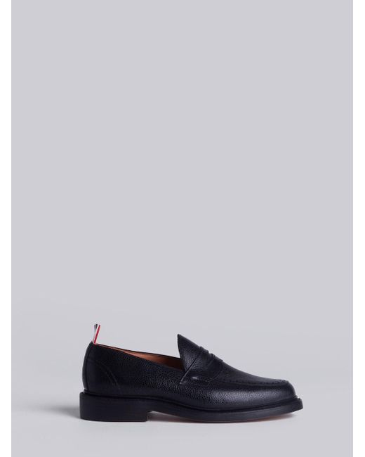 Thom Browne - Penny Loafer With Leather Sole In Black Pebble Grain for Men - Lyst