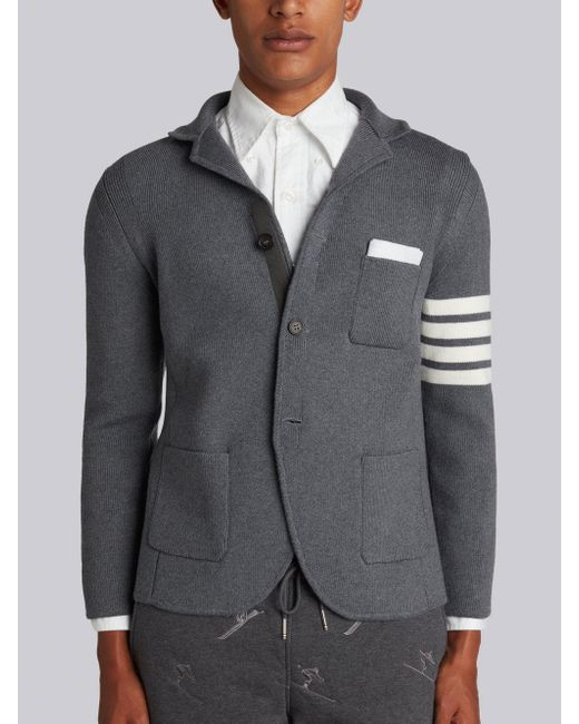 Excellent Lyst - Thom Browne Rib Knit Sport Coat With White 4 Bar Stripe In  BS29