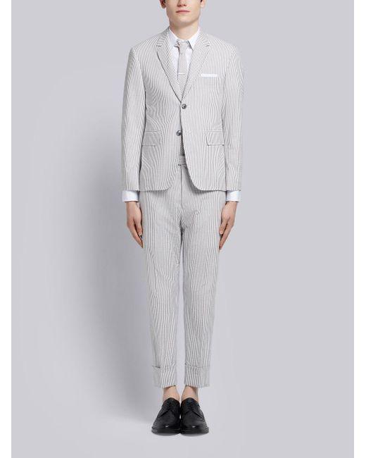 Thom Browne Gray Seersucker Suit With Tie for men
