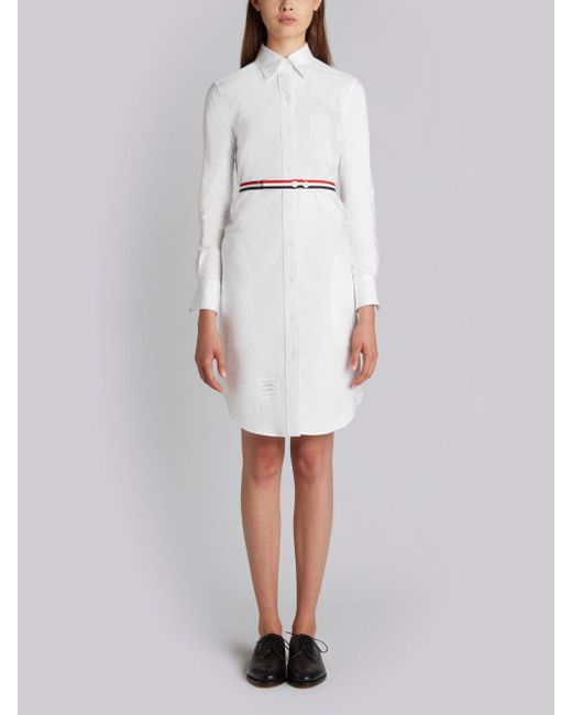 Above Knee A-Line Shirtdress With Side Tabs & Engineered Stripe In White Oxford Thom Browne SRqLys49o