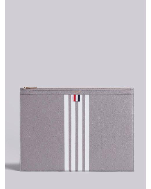 Large Zipper Laptop Holder (39X28Cm) With Contrast 4-Bar Stripe In Pebble Grain & Calf Leather - Unavailable Thom Browne Websites Online 8VKLubVz