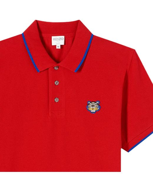 5272b21c7ba9 Kenzo 'tiger' Polo Shirt in Red for Men - Save 35.05154639175258% - Lyst
