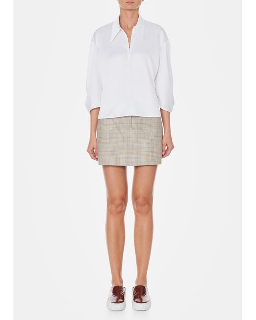 Tibi - White Tech Pique Zip Front Pointed Collar Top - Lyst