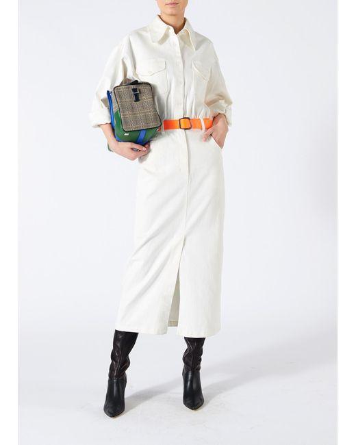 Tibi - White Washed Twill Dress - Lyst