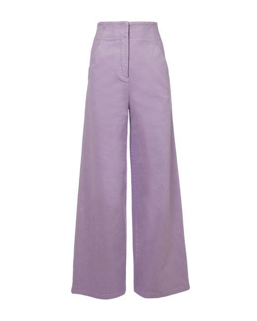 Tibi - Purple Garment Dyed Twill Wide-leg Jean - Lyst