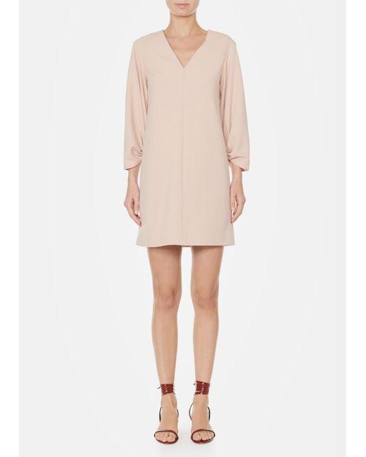 Tibi - Natural Structured Crepe V-neck Shirred Sleeve Dress - Lyst