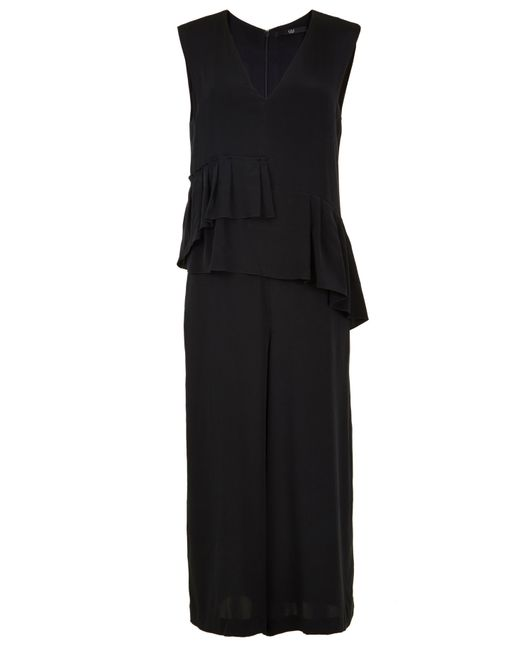 Tibi | Black Silk Ruffle Jumpsuit | Lyst
