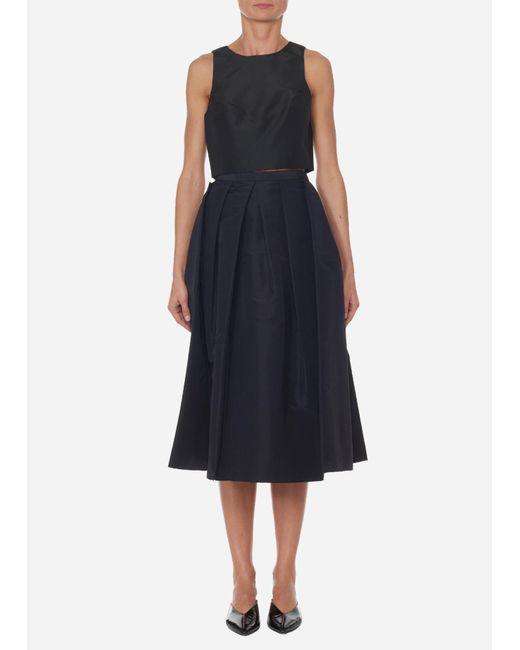 Tibi - Black Silk Faille Full Skirt - Lyst