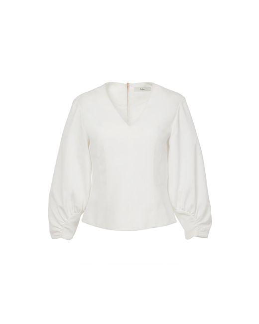 Tibi - White Drape Twill Corset V-neck Top - Lyst