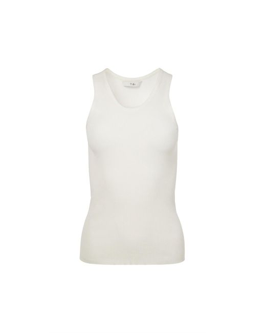 Tibi - White Viscose Seamless Ribbed Tank - Lyst