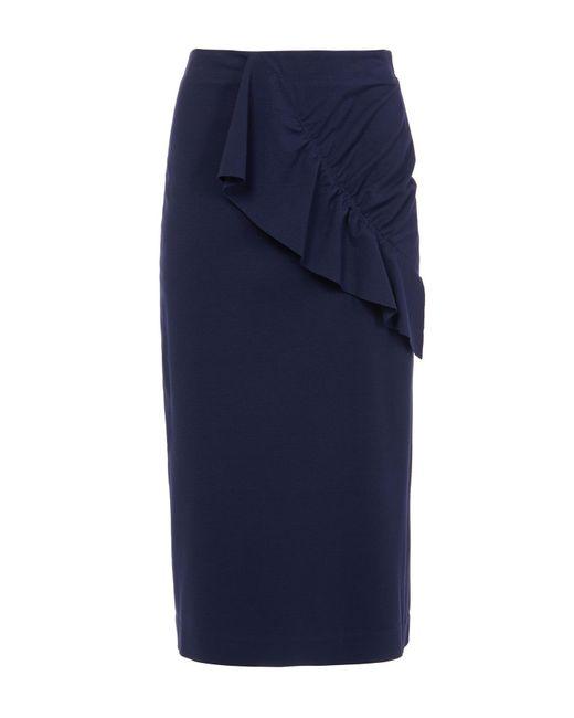 Tibi - Blue Bond Stretch Knit Asymmetric Ruffle Skirt - Lyst