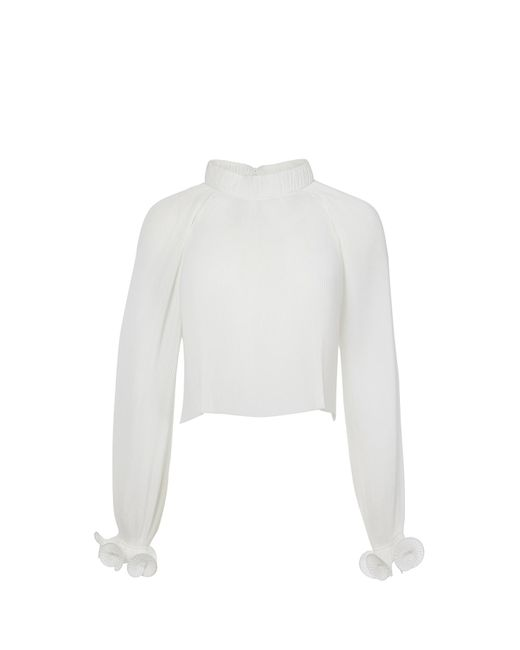 Tibi - White Pleated Cropped Top - Lyst