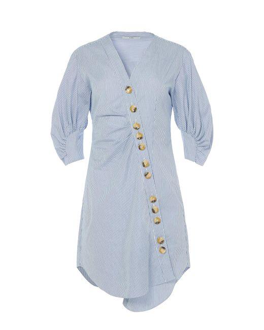 Tibi - Blue Jones Striped Asymmetrical Shirtdress - Lyst