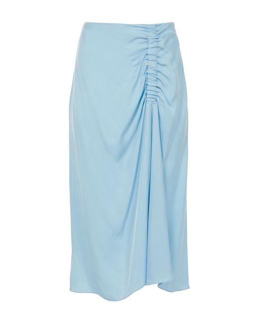 Tibi - Blue Viscose Suiting Shirred Skirt - Lyst