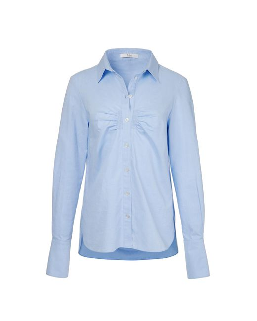Lyst tibi oxford shirred shirt with french cuffs in blue for French blue oxford shirt