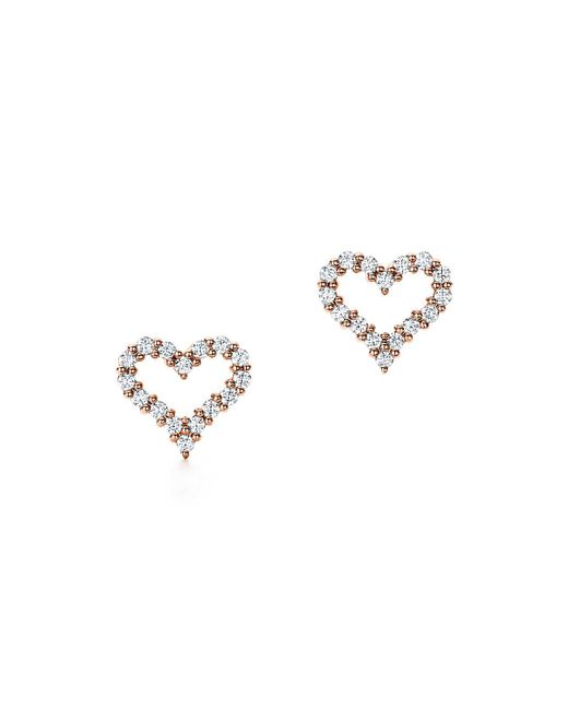Tiffany & Co - Metallic Heart Earrings In Platinum With Diamonds, Extra Mini - Lyst