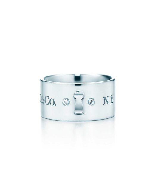Tiffany & Co | Metallic Tiffany Locks Wide Ring In Sterling Silver With Diamonds - 8 | Lyst