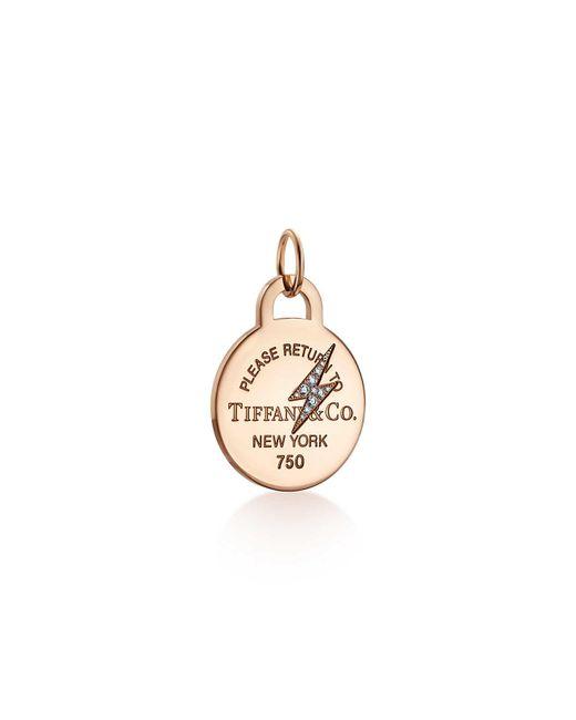 Tiffany & Co - Metallic Return To Tiffanytm Etched Lightning Bolt Round Tag Charm In 18ct Rose Gold - Lyst