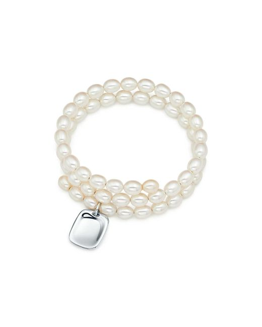 Tiffany & Co - Metallic Pearl Tag Bracelet - Lyst