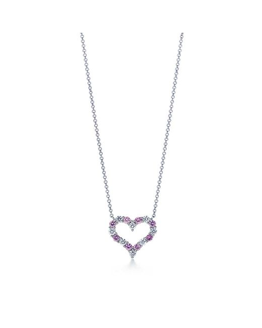 Tiffany & Co - Tiffany Heartstm Pendant With Pink Sapphires And Diamonds In Platinum - Lyst