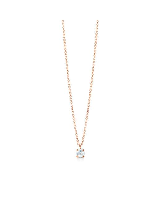 Tiffany & Co - Metallic Tiffany Solitaire Diamond Pendant In 18k Rose Gold - Size .17 - Lyst
