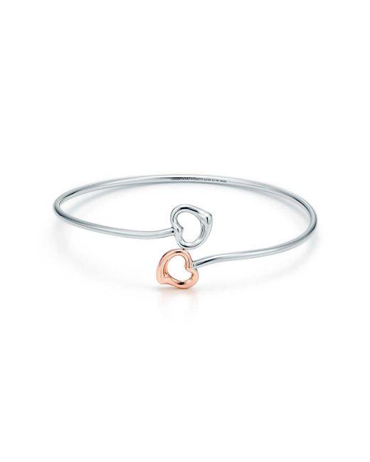 Tiffany & Co - Metallic Double Open Heart Bangle - Lyst