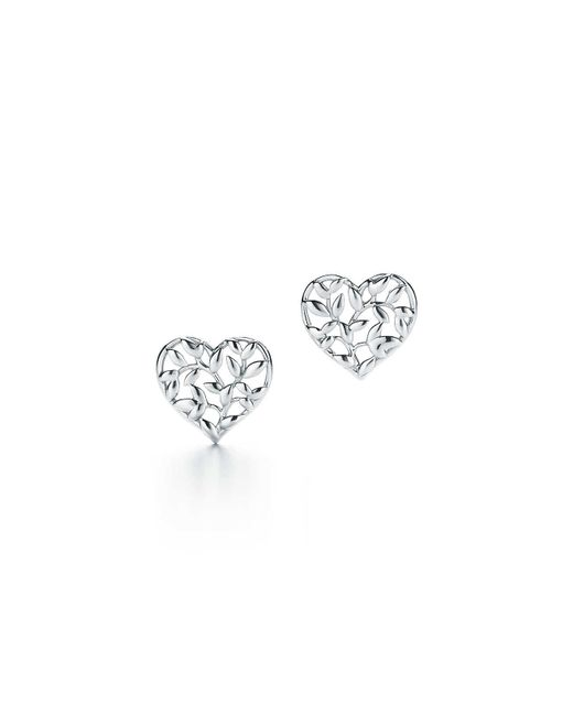 Tiffany & Co - Green Paloma Picasso. Olive Leaf Heart Earrings In Sterling Silver - Lyst