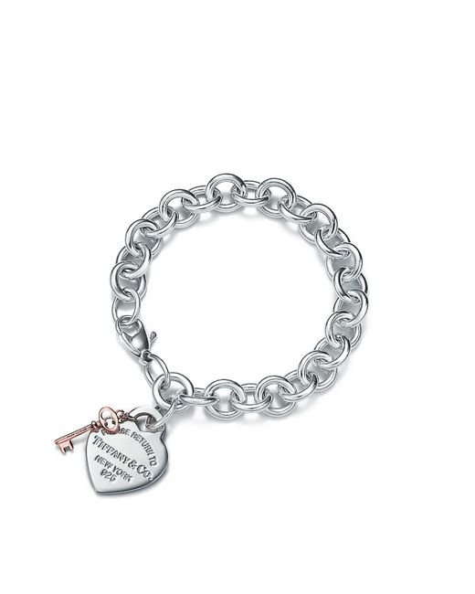 Tiffany & Co | Metallic Heart Tag Key Bracelet | Lyst