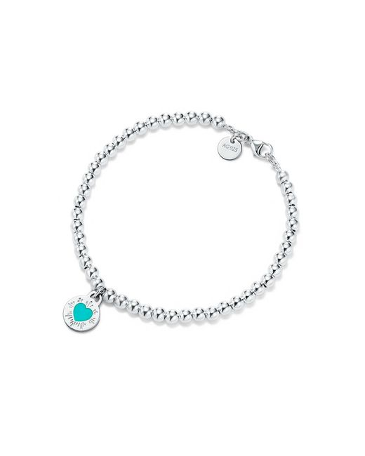 Tiffany & Co | Metallic Round Heart Charm Bracelet | Lyst