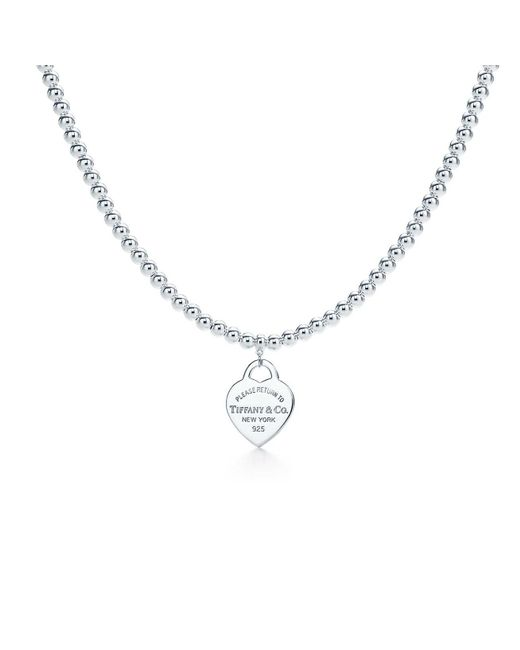 Tiffany & Co - Metallic Bead Necklace - Lyst