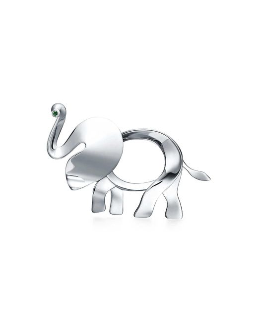 Tiffany & Co - Metallic Tiffany Save The Wild Elephant Brooch In Silver With A Tsavorite, Large - Lyst