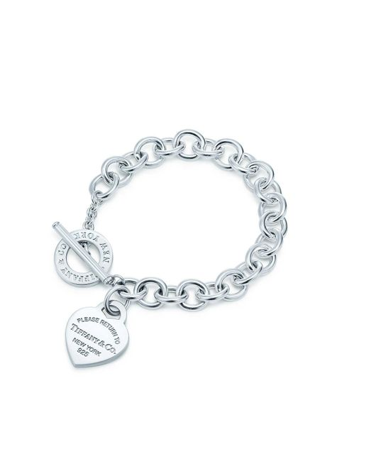 Tiffany & Co - Metallic Heart Tag Toggle Sterling Silver Small Bracelet - Lyst