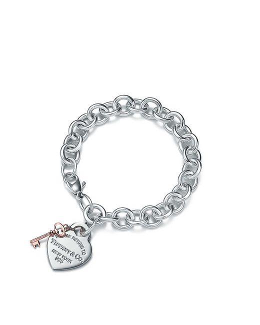 Tiffany & Co - Metallic Heart Tag Key Bracelet - Lyst