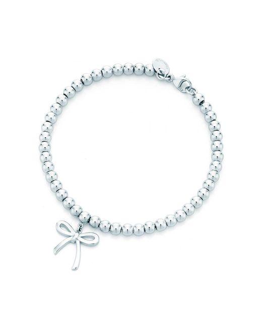 Tiffany & Co - Metallic Tiffany Bow Bead Bracelet In Sterling Silver, Medium - Lyst