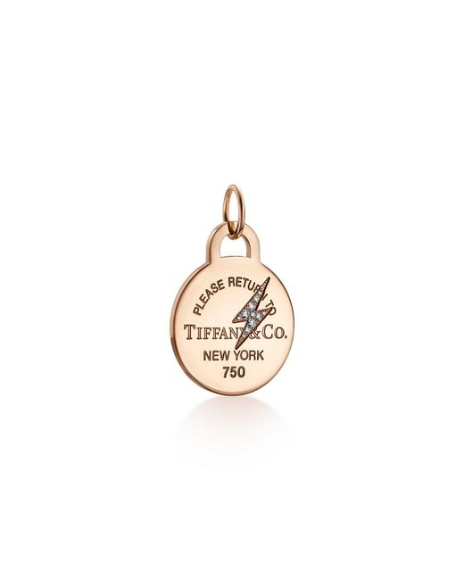 Tiffany & Co - Metallic Return To Tiffanytm Etched Lightning Bolt Round Tag Charm In 18ct Rose Gold - Lyst