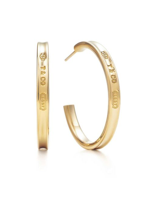 Tiffany & Co - Metallic Hoop Earrings - Lyst