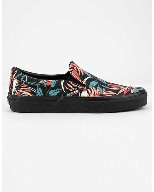 5d6bb73d3a Vans - Black California Floral Classic Slip-on Womens Shoes - Lyst ...