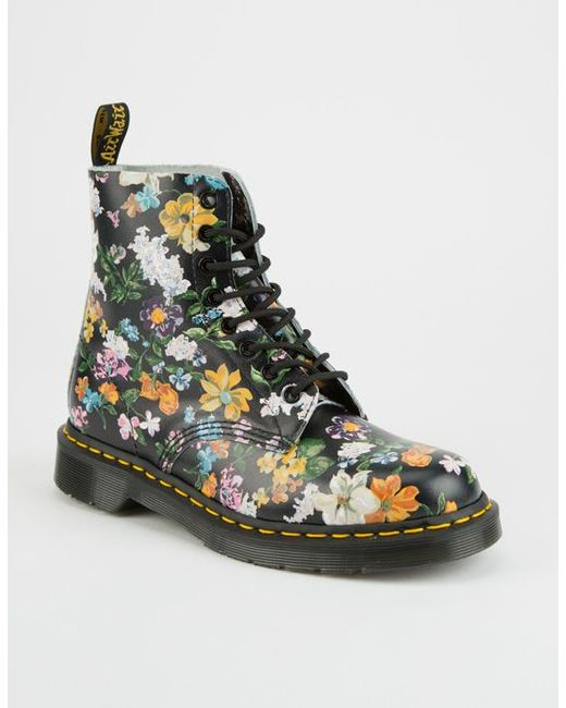 Dr. Martens | Black Darcy Floral Pascal Womens Boots | Lyst