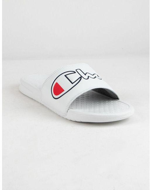 a6e11c05738 Champion - Super Slide Split Script White Mens Sandals for Men - Lyst ...
