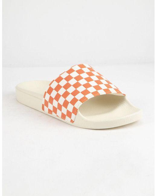 ec240427b3986d Vans - Multicolor Checkered Rust Womens Slide Sandals - Lyst ...
