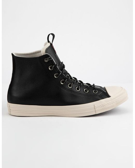 fbff37be4 Converse - Chuck Taylor All Star Leather Black & Driftwood High Top Shoes  for Men ...