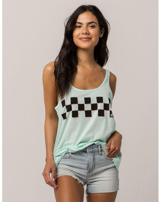 Volcom - Green Checks Out Womens Tank - Lyst