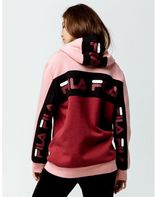 4d6eb0183605 Lyst - Fila Rita Pink Womens Oversized Hoodie in Pink - Save 57%