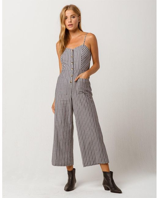 Mimi Chica - Black Button Front Stripe Womens Jumpsuit - Lyst