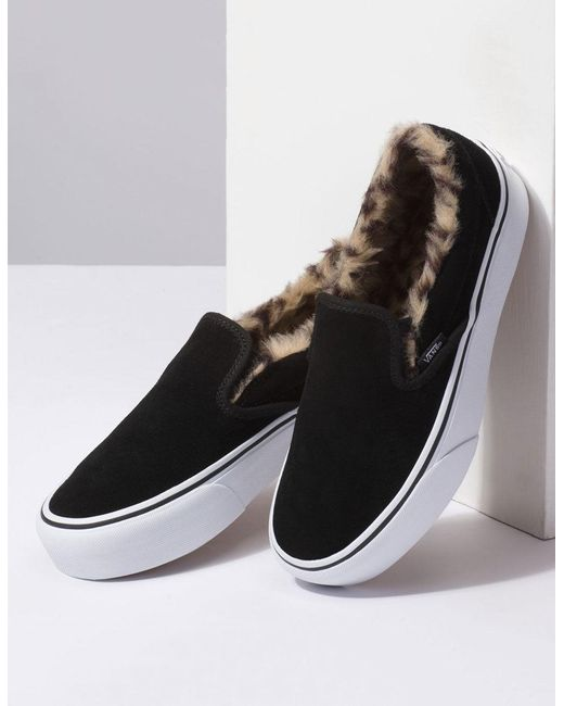 4a7759d6c4ca3a ... Vans - Suede Slip-on Platform Fur Black Womens Shoes - Lyst ...